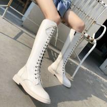 Arden Furtado Fashion Women's Shoes Winter Sexy Elegant Ladies Boots Concise pure color  haze blue beige Cross Lacing Round Toe Leather Mature patent leather