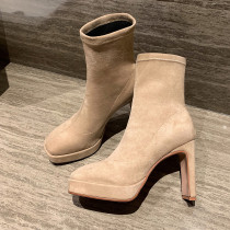 Arden Furtado Fashion Women's Shoes Winter Waterproof Women's Boots Ladylike Temperament Classics Concise Matte pure color apricot black Short Boots Chunky Heels