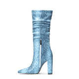Arden Furtado Fashion Women's Shoes Winter Pointed Toe Chunky Heels Classics Leather Zipper Sexy Elegant Ladies Boots Concise Mature pure color Knee High Boots  snake print Women's Boots  Big size 45
