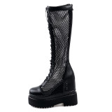 Arden Furtado Summer Fashion Trend Women's Shoes  Sexy Elegant inside heighten Classics Ladies Boots Concise Mature Office Lady pure color Cool boots Waterproof Knee High Boots Wire side Big size 40