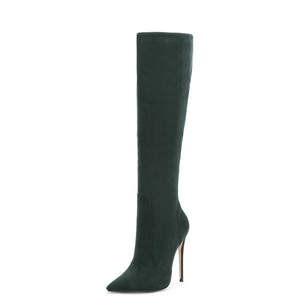 Arden Furtado Fashion Women's Shoes Winter Pointed Toe Stilettos Heels pure color Elegant Ladies Boots Concise Knee High Boots