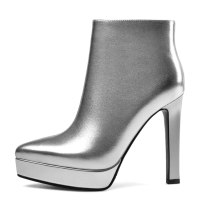 Arden Furtado Fashion Women's Shoes Winter Pointed Toe Chunky Heels Zipper pure color Waterproof Short Boots Leather Classics