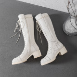 Arden Furtado Fashion Women's Shoes Winter Sexy Elegant Ladies Boots Concise Mature pure color Cross Lacing Knee High Boots