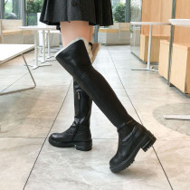 Arden Furtado Fashion Women's Shoes Winter Elegant Ladies Boots Add Wool Upset Concise Mature Over The Knee High Boots