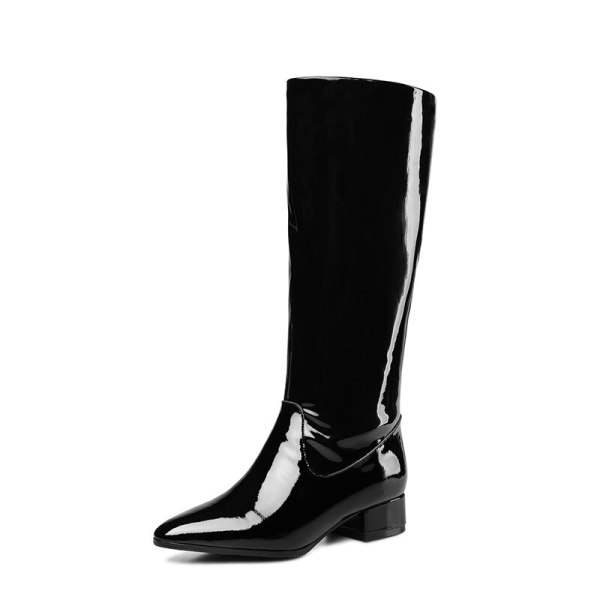 Arden Furtado Fashion Women's Shoes Winter Pointed Toe Elegant Ladies Boots Concise Mature pure color Slip-on Knee High Boots