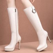 Arden Furtado Fashion Women's Shoes Winter Pointed Toe Stilettos Heels Zipper   Sexy Elegant Ladies Boots Concise Mature Leather