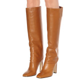Arden Furtado Fashion Women's Shoes Winter Pointed Toe Chunky Heels  Sexy Elegant Ladies Boots Concise Mature Knee High Boots