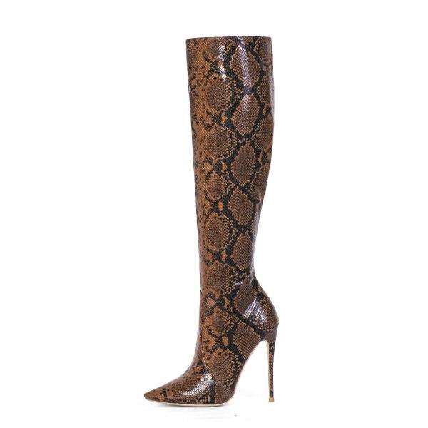 Arden Furtado Fashion Women's Shoes Winter  Pointed Toe Stilettos Heels Zipper Serpentine Elegant Ladies Boots Knee High Boots