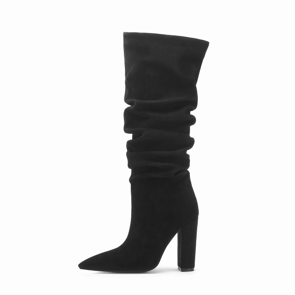 Arden Furtado Fashion Women's Shoes Winter  Pointed Toe Chunky Heels Pleated pure color Slip-on Women's Boots Leather Classics