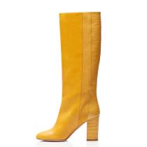 Arden Furtado Fashion Women's Shoes Winter Pointed Toe Stilettos Heels Classics pure color Leather Slip-on Sexy Elegant Ladies Boots