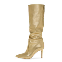 Arden Furtado Fashion Women's Shoes Winter Pointed Toe Stilettos Heels  pure color  Pleated Sexy Elegant Ladies Boots Concise Mature gold  knee high boots Big size 46