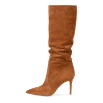 Arden Furtado Fashion Women's Shoes Winter Pointed Toe Stilettos Heels Classics Sexy Elegant Mature Ladies Boots pure color Slip-on brown Knee High Boots