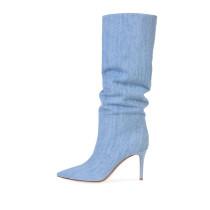Arden Furtado Fashion Women's Shoes Pointed Toe Stilettos Heels Sexy Elegant Ladies Jeans pleated Boots