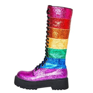 Arden Furtado Fashion Women's Shoes Winter Women's lace up Boots Personality Mixed Colors Zipper glitter knee high boots