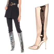 Arden Furtado Fashion Women's Shoes Winter Pointed Toe Stilettos Heels Zipper Elegant Ladies Boots gold silver Knee High Boot