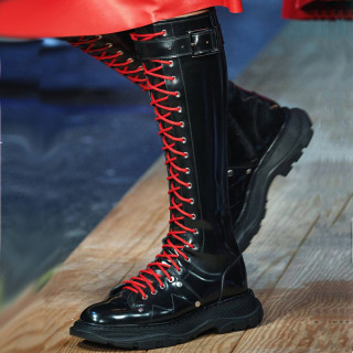 Arden Furtado Fashion Women's Shoes Winter Cross tied Round Toe Casual Knee High Boots Leather red white booties