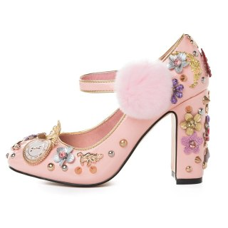 Arden Furtado Spring And autumn Fashion Women's Shoes Chunky Heels  Ethnic Sweet Elegant pure color Buckle Pumps  Big size 43