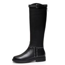 Arden Furtado Fashion Women's Shoes Winter Knee High Boots Elegant Ladies Boots Buckle Round Toe Concise Mature Back zipper