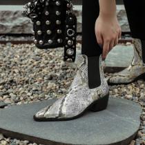 Arden Furtado Fashion Women's Shoes Winter Pointed Toe Chunky Heels Mature gold Classics Serpentine Back zipper Short Boots