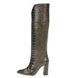 Arden Furtado Fashion Women's Shoes Winter Pointed Toe Chunky Heels Slip-on Elegant Ladies Purple striped Boots