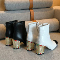 Arden Furtado Fashion Women's Shoes Winter Women's Boots white ankle Boots Leather Crystal Rhinestone booties