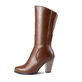 Arden Furtado Fashion Women's Shoes Winter Pointed Toe Chunky Heels Zipper Sexy Elegant Ladies Boots Mature brown half boots 43