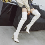 Arden Furtado Fashion Winter Pointed Toe Cross Lacing Stilettos Heels red Over The Knee High Boots White