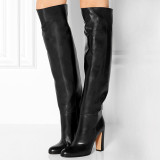 Arden Furtado Fashion Women's Shoes Winter Pointed Toe Chunky Heels Sexy Ladies Boots knee high boots large size High heels Shoes