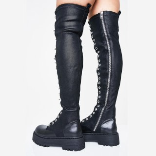 Arden Furtado Fashion Women's Shoes Winter Elegant Ladies Boots Cross Lacing Concise Mature pure color Over The Knee High Boots