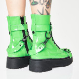 Arden Furtado Fashion Women's Shoes Winter  Sexy Elegant Ladies Short Boots Buckle Classics pure color green Concise Mature