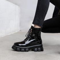 Arden Furtado Fashion Women's Shoes Winter pure color zipper Cross Lacing Round Toe Classics Short Boots Matin Boots Leather