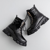 Arden Furtado Fashion Women's Shoes Winter pure color zipper Cross Lacing Round Toe Classics Short Boots Matin Boots Leather