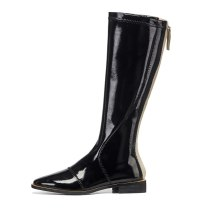 Arden Furtado Fashion Women's Shoes Winter Pointed Toe pure color Classics Mature Classics Back zipper Knee High Boots  Leather