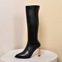 Arden Furtado Fashion Women's Shoes Winter Pointed Toe Stilettos Heels Zipper Classics Mature Classics Concise Knee High Boots
