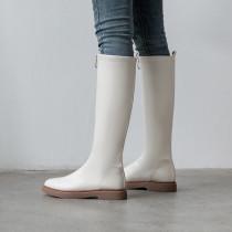 Arden Furtado Fashion Trend Women's Shoes Winter Sexy Elegant Ladies Boots  beige Mature Back zipper Concise Mature pure color