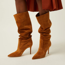 Arden Furtado Fashion Women's Shoes Winter Pointed Toe Stilettos Heels pure color brown grey Elegant Ladies Boots Big size 45