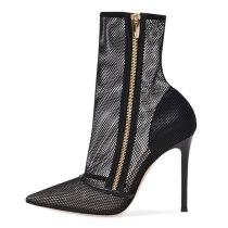 Arden Furtado Summer Fashion Women's Shoes pure color Short Boots Pointed Toe Stilettos Heels Zipper  Sexy Elegant Ladies Boots