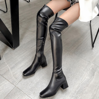 Arden Furtado Fashion Women's Shoes Winter   Sexy Elegant Ladies Boots pure color zipper Over The Knee High Boots  Leather