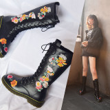 Arden Furtado Fashion Women's Shoes Winter  Sexy Elegant Ladies Boots Embroidery Round Toe Concise Knee High Boots Leather