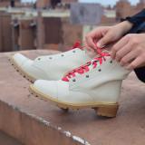 Arden Furtado Fashion Women's Shoes Winter  Sexy Elegant Ladies Boots Beige pure color Cross Lacing Round Toe Short Boots