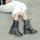 Arden Furtado Fashion Women's Shoes Winter  pure color Mature Sexy Elegant Ladies Boots Concise Round Toe Leather Concise