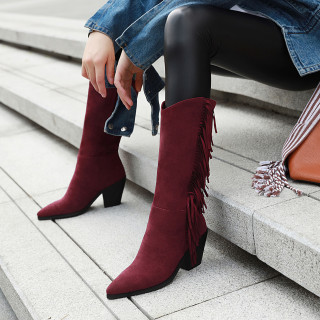 Arden Furtado Fashion Women's Shoes Winter Pointed Toe Chunky Heels Fringed Classics pure color Slip-on Knee High Boots  Matte