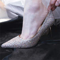 Arden Furtado Summer Fashion Women's Shoes Mature Pointed Toe Classics concise shoes Silver Stilettos Heels Zipper Slip-on Shallow