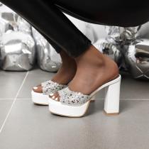 Arden Furtado Summer Fashion Trend Women's Shoes Concise Sexy Mature Elegant Crystal Rhinestone Waterproof Slippers Big size 43