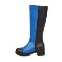 Arden Furtado Fashion Women's Shoes Winter Round Toe Knee High Boots zipper blue Mature Concise Mature Knee High Boots
