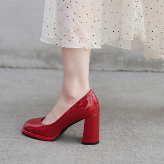 Arden Furtado Spring And autumn Fashion Women's Shoes Slip-on white red Chunky Heels Sexy Elegant pure color Pumps Leather