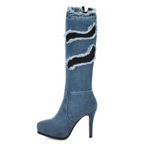 Arden Furtado Fashion Spring Women's Shoes Pointed Toe Stilettos Heels Knee High Boots Waterproof Zipper pure color zipper