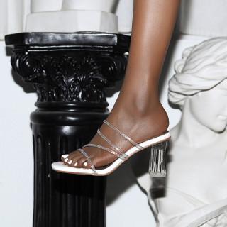Arden Furtado Summer Fashion Trend Women's Shoes Sexy Elegant pure color Classics Crystal Rhinestone Chunky Heels Slippers