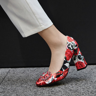 Arden Furtado Summer Fashion Trend Women's Shoes Flower red  Chunky Heels Slip-on  Pumps Concise Mature Office Lady Party Shoes