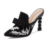 Arden Furtado Summer Fashion Trend Women's Shoes Pointed Toe Mature  Embroidery Classics Strange Style Heels Slippers Mules